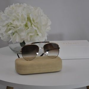 NWT Chloe Alpina Aviator Metal Sunglasses